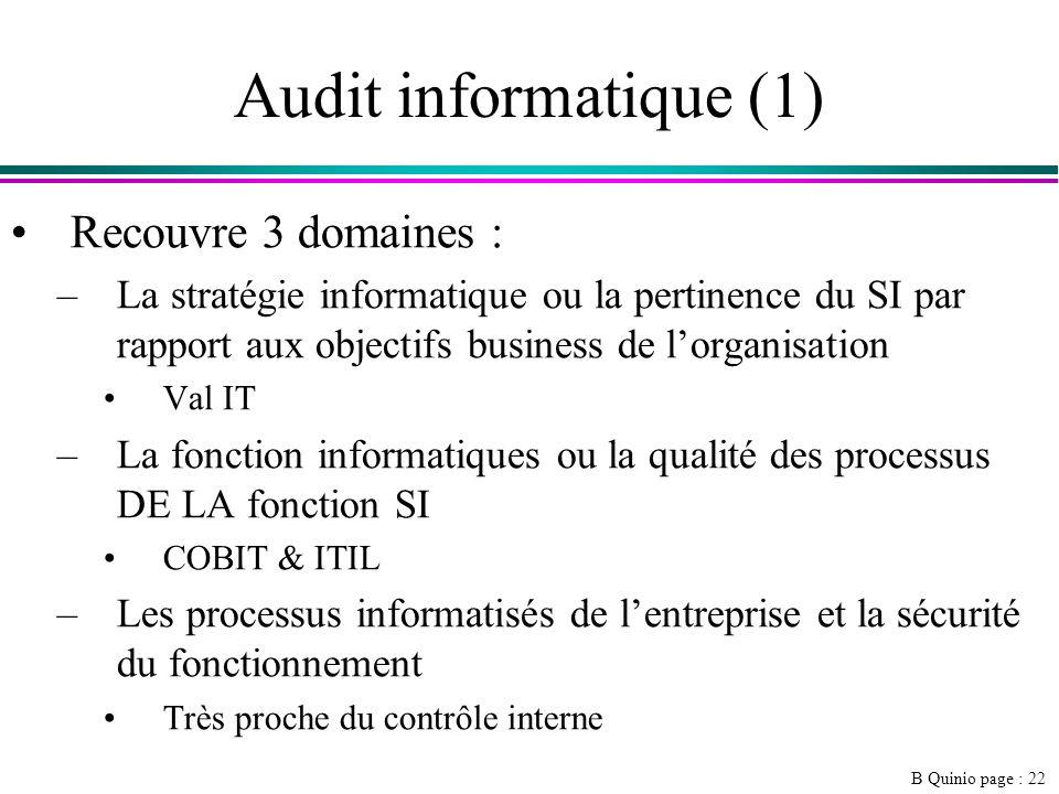 Audit informatique (1) Recouvre 3 domaines :