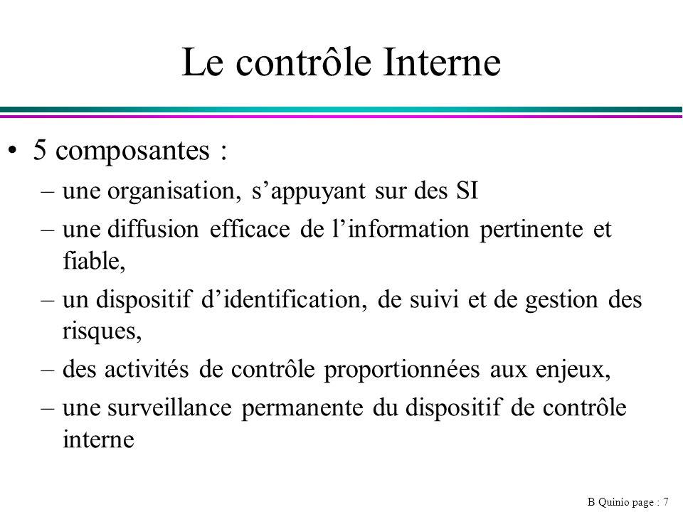 Le contrôle Interne 5 composantes :