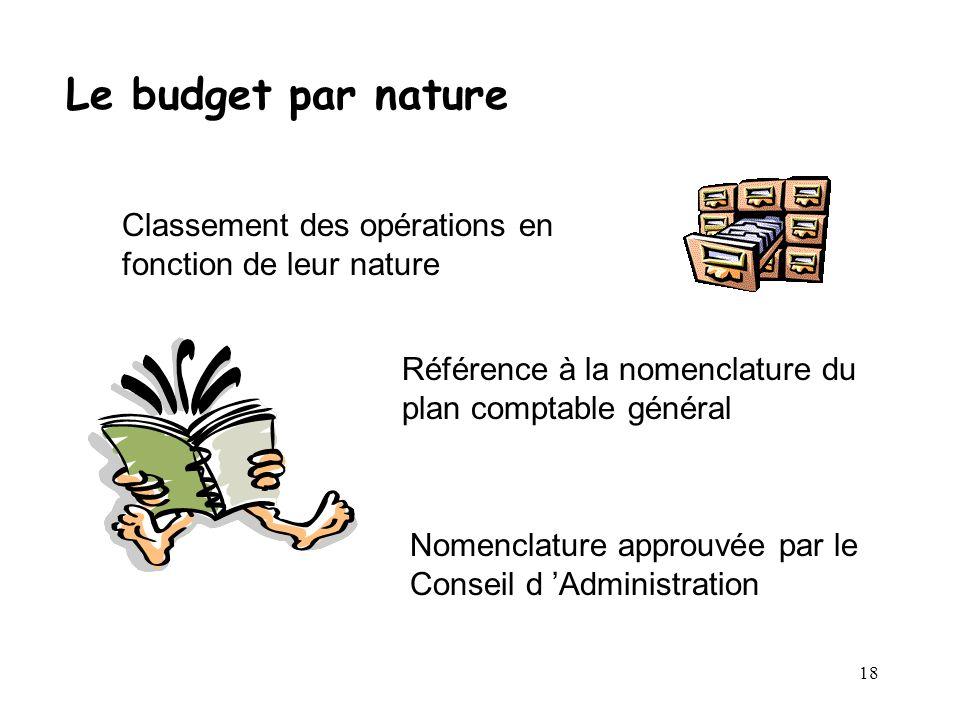 Le budget par nature Classement des opérations en fonction de leur nature. Référence à la nomenclature du plan comptable général.