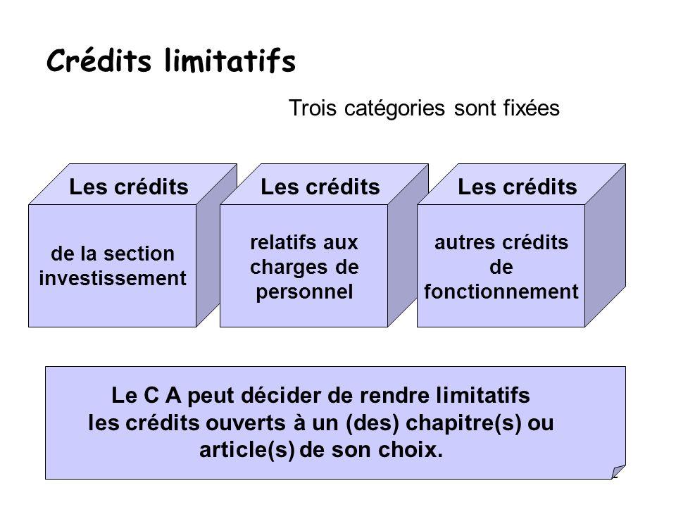 Crédits limitatifs Trois catégories sont fixées Les crédits