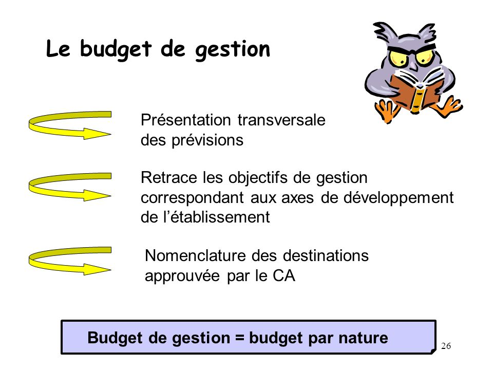 Le budget de gestion Présentation transversale des prévisions