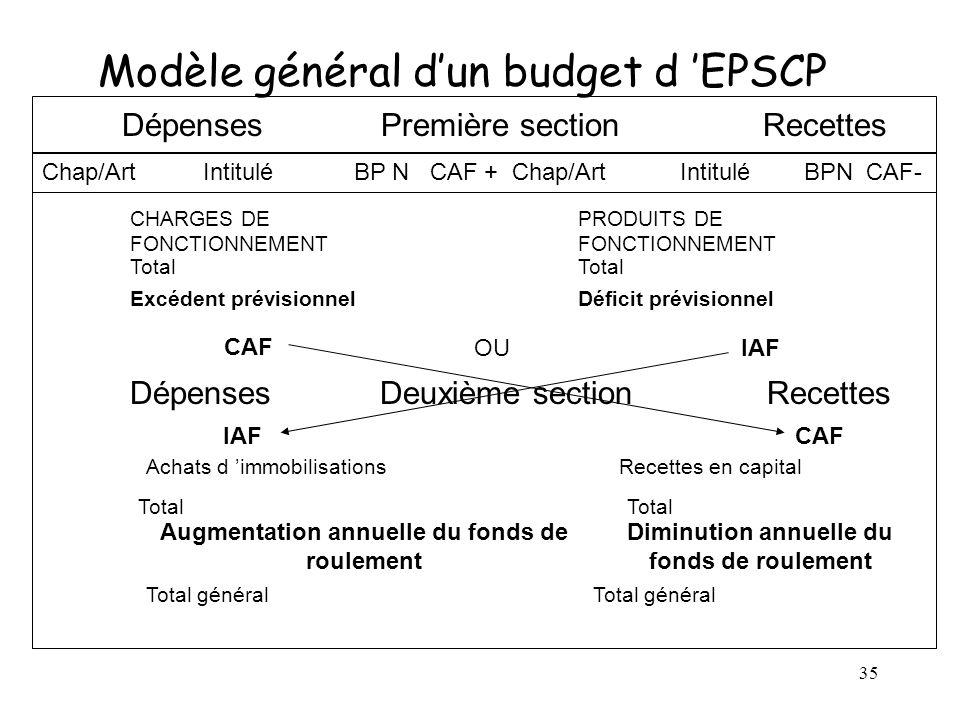 Modèle général d'un budget d 'EPSCP