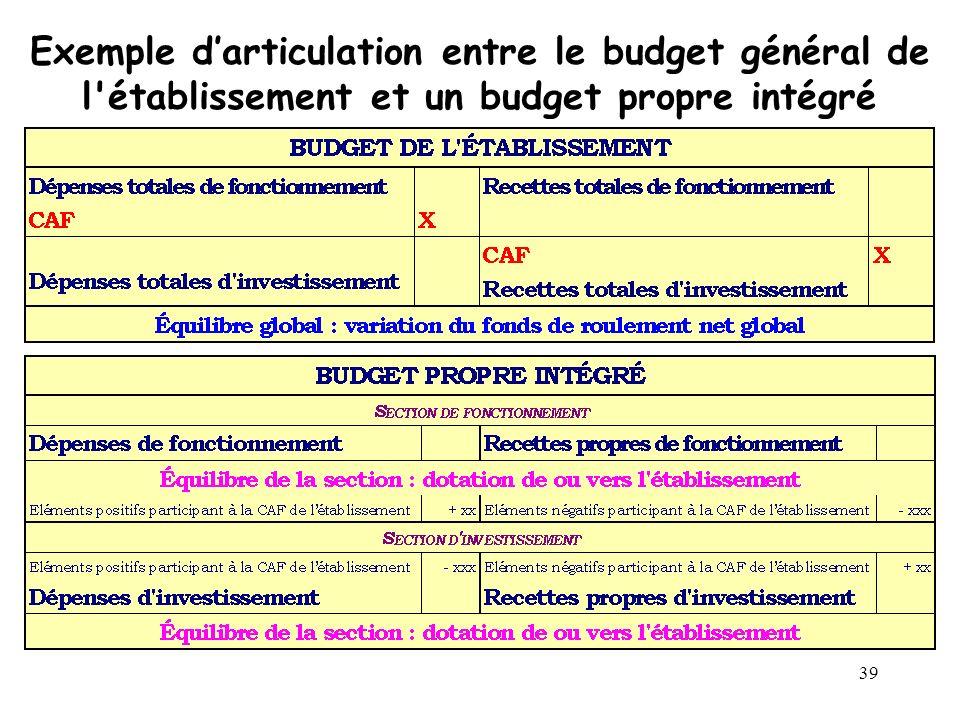 Exemple d'articulation entre le budget général de l établissement et un budget propre intégré