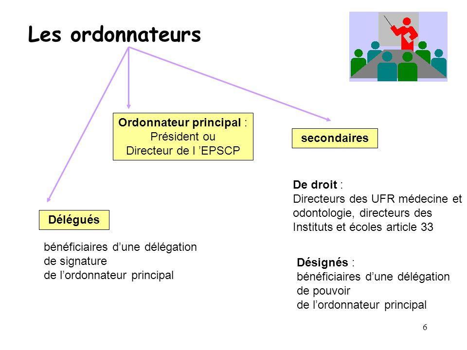Ordonnateur principal : Président ou Directeur de l 'EPSCP