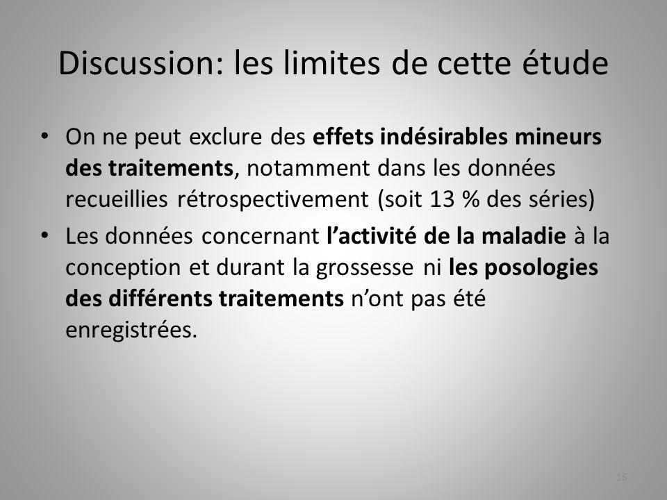 Discussion: les limites de cette étude