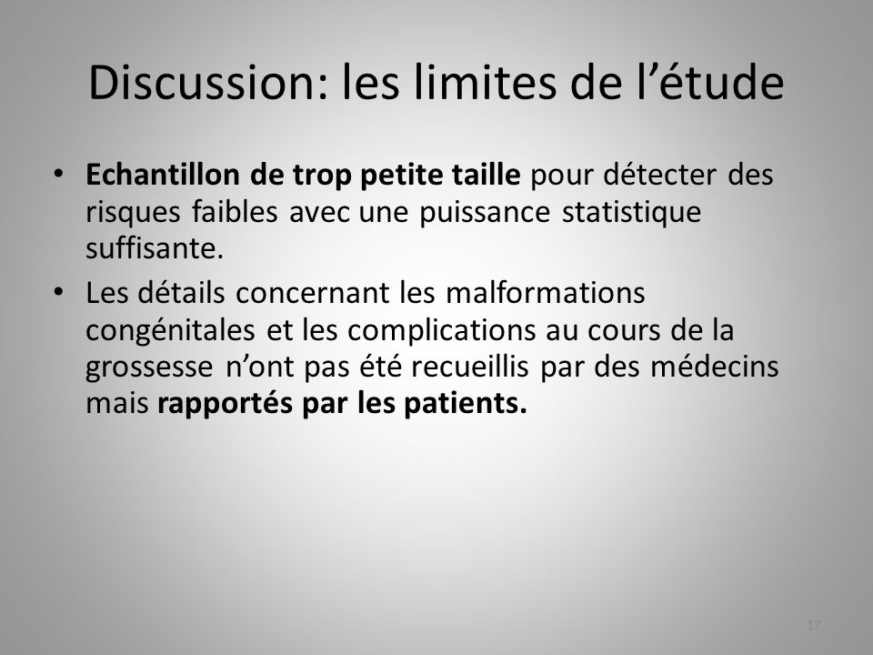 Discussion: les limites de l'étude
