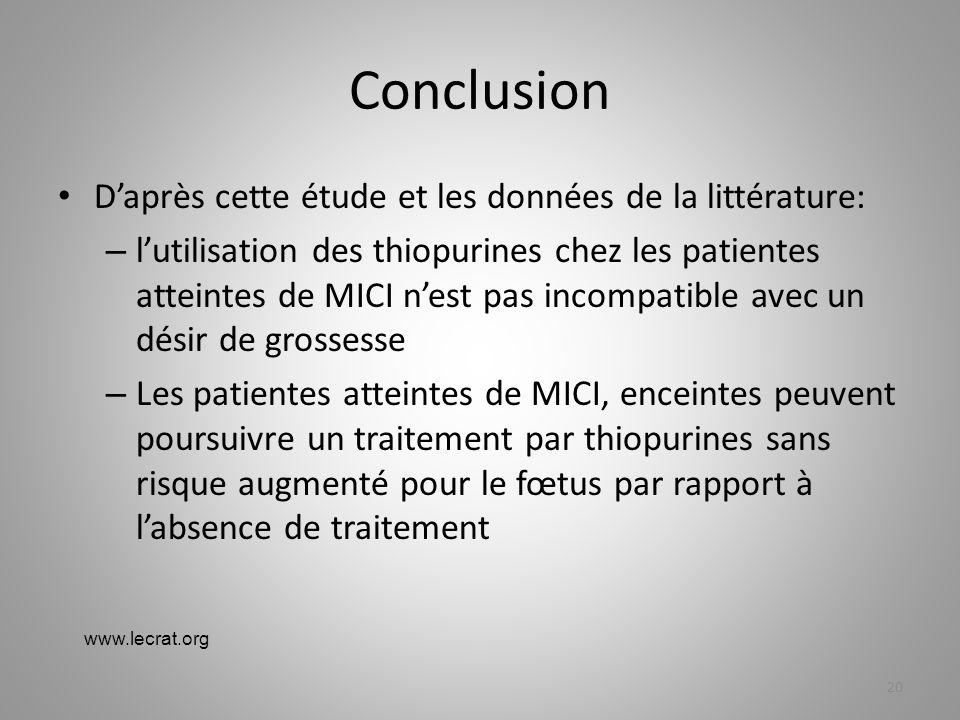 Conclusion D'après cette étude et les données de la littérature: