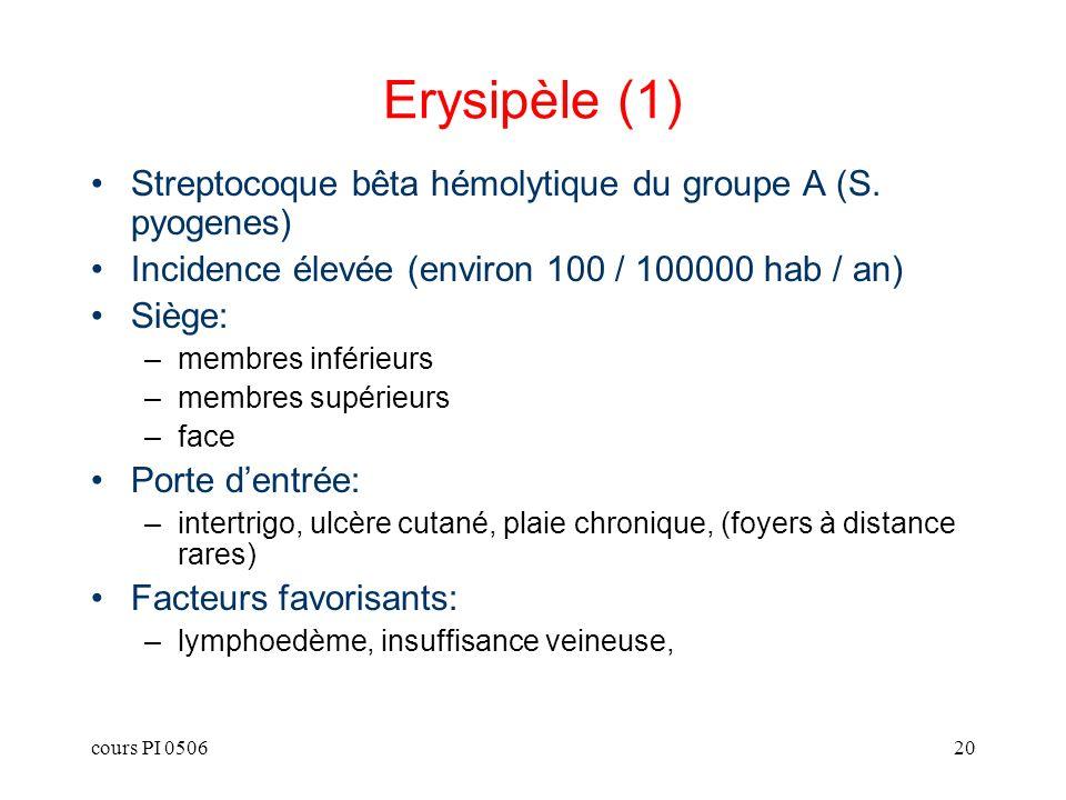 Erysipèle (1) Streptocoque bêta hémolytique du groupe A (S. pyogenes)