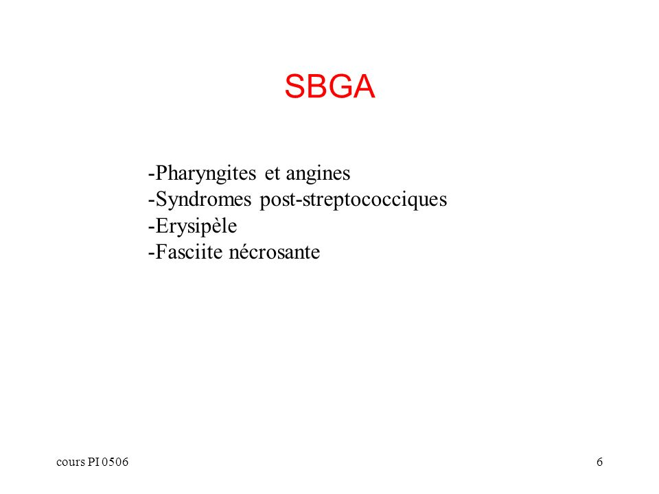 SBGA Pharyngites et angines Syndromes post-streptococciques Erysipèle