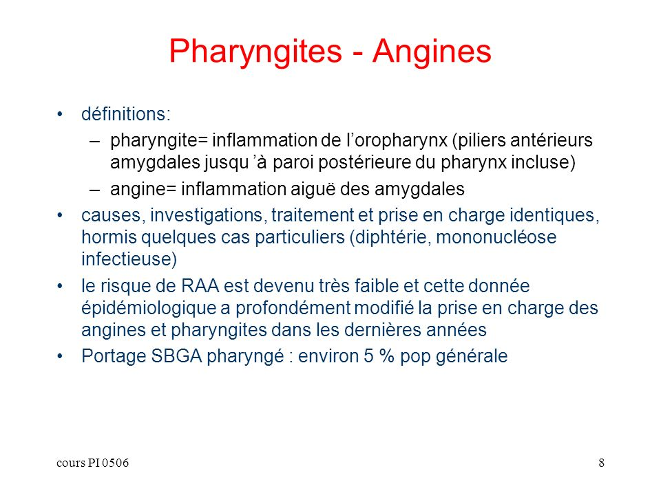 Pharyngites - Angines définitions: