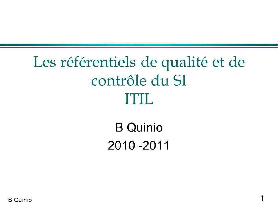 Les référentiels de qualité et de contrôle du SI ITIL