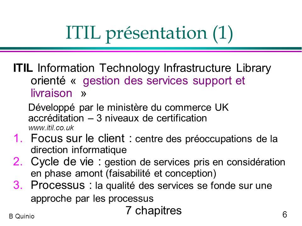 ITIL présentation (1) ITIL Information Technology Infrastructure Library orienté « gestion des services support et livraison »