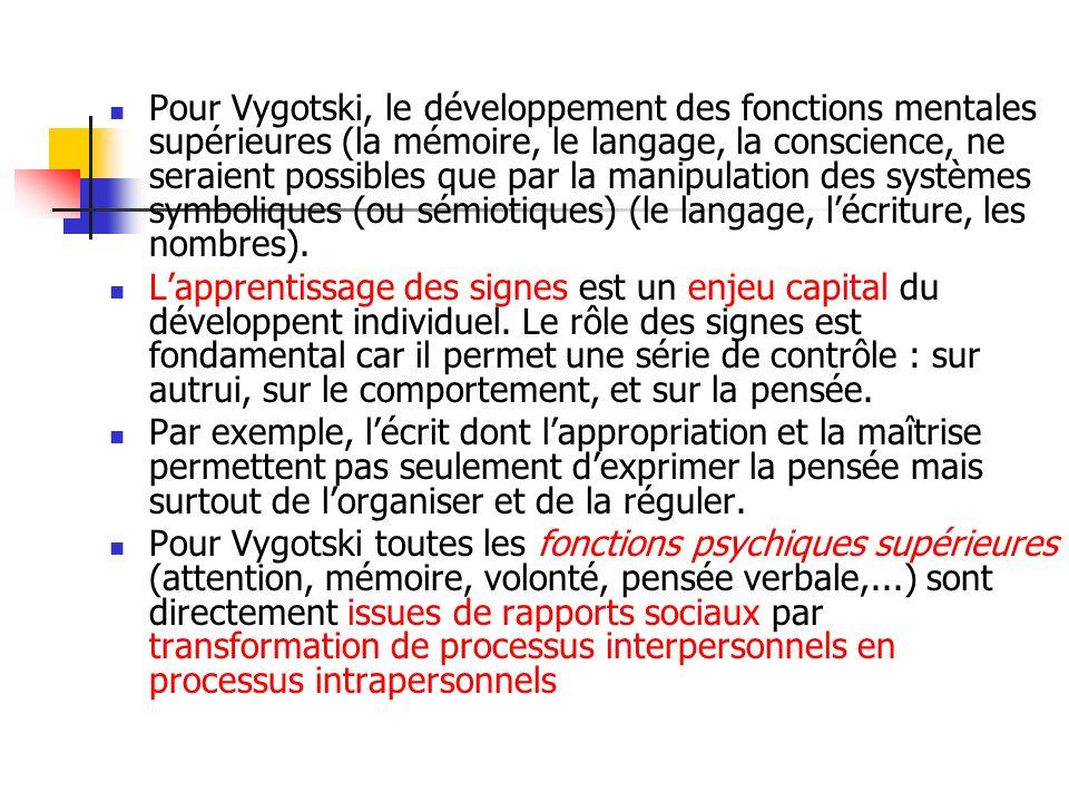 Pour Vygotski, le développement des fonctions mentales supérieures (la mémoire, le langage, la conscience, ne seraient possibles que par la manipulation des systèmes symboliques (ou sémiotiques) (le langage, l'écriture, les nombres).