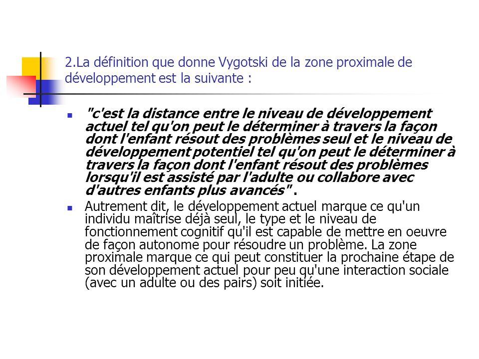 2.La définition que donne Vygotski de la zone proximale de développement est la suivante :