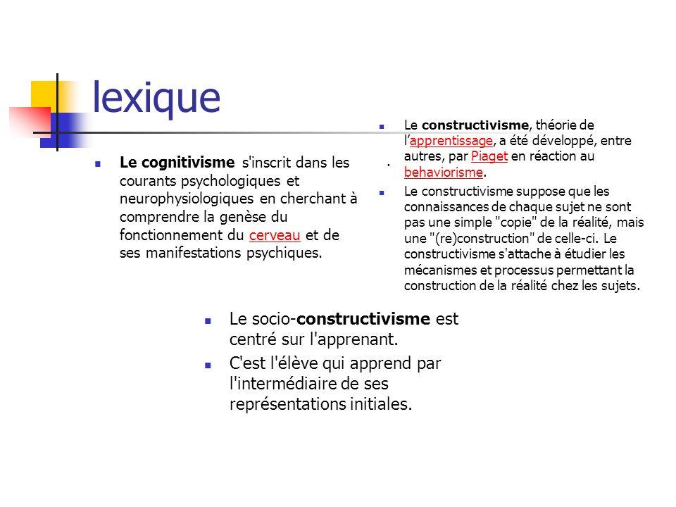 lexique Le socio-constructivisme est centré sur l apprenant.