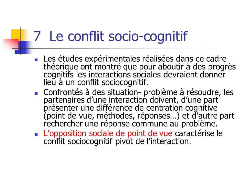7 Le conflit socio-cognitif