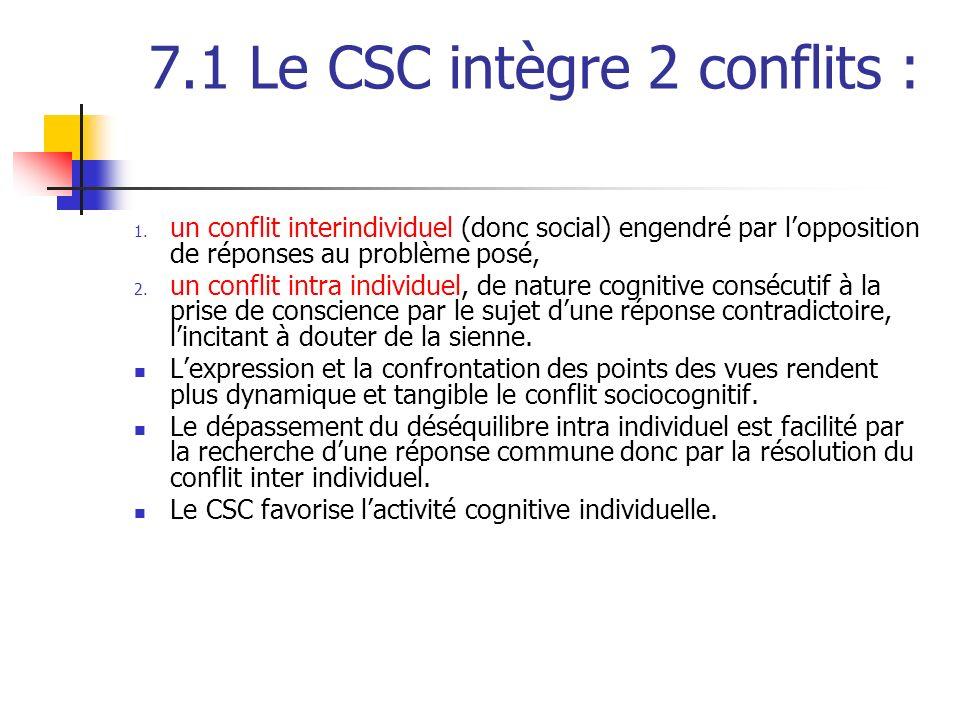 7.1 Le CSC intègre 2 conflits :