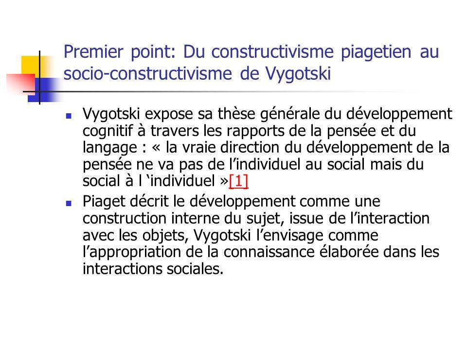 Premier point: Du constructivisme piagetien au socio-constructivisme de Vygotski