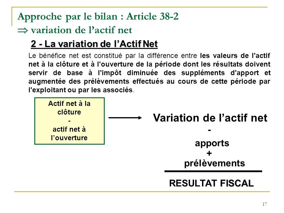 Approche par le bilan : Article 38-2  variation de l'actif net