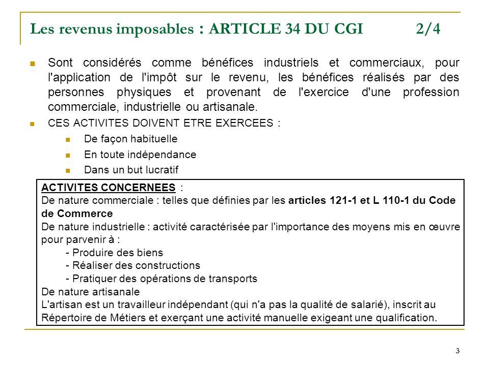 Les revenus imposables : ARTICLE 34 DU CGI 2/4