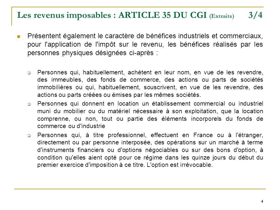 Les revenus imposables : ARTICLE 35 DU CGI (Extraits) 3/4