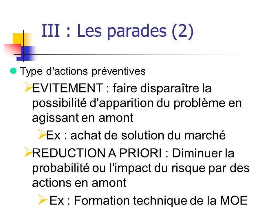 III : Les parades (2) Type d actions préventives. EVITEMENT : faire disparaître la possibilité d apparition du problème en agissant en amont.