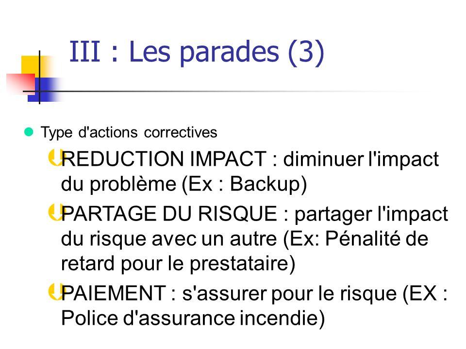 III : Les parades (3) Type d actions correctives. REDUCTION IMPACT : diminuer l impact du problème (Ex : Backup)