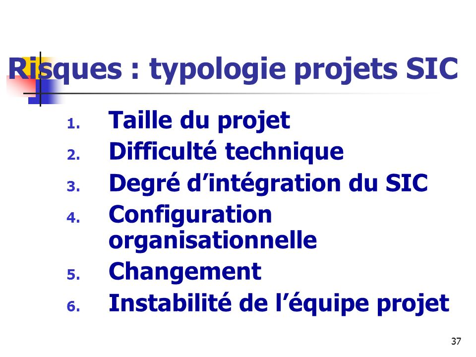 Risques : typologie projets SIC