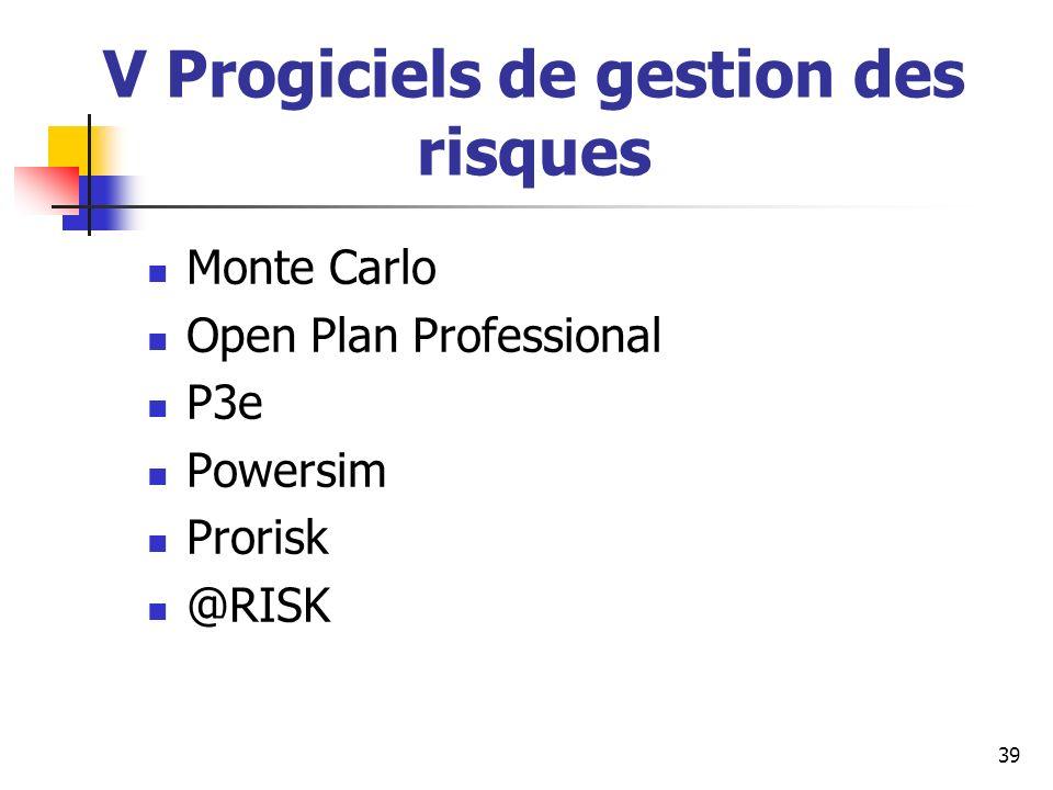 V Progiciels de gestion des risques