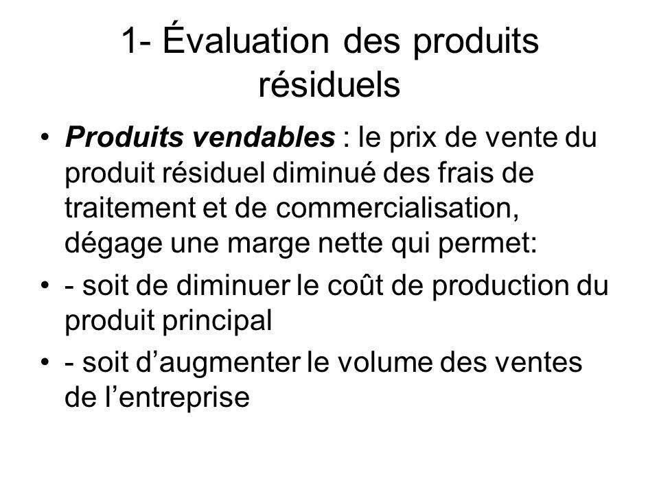 1- Évaluation des produits résiduels