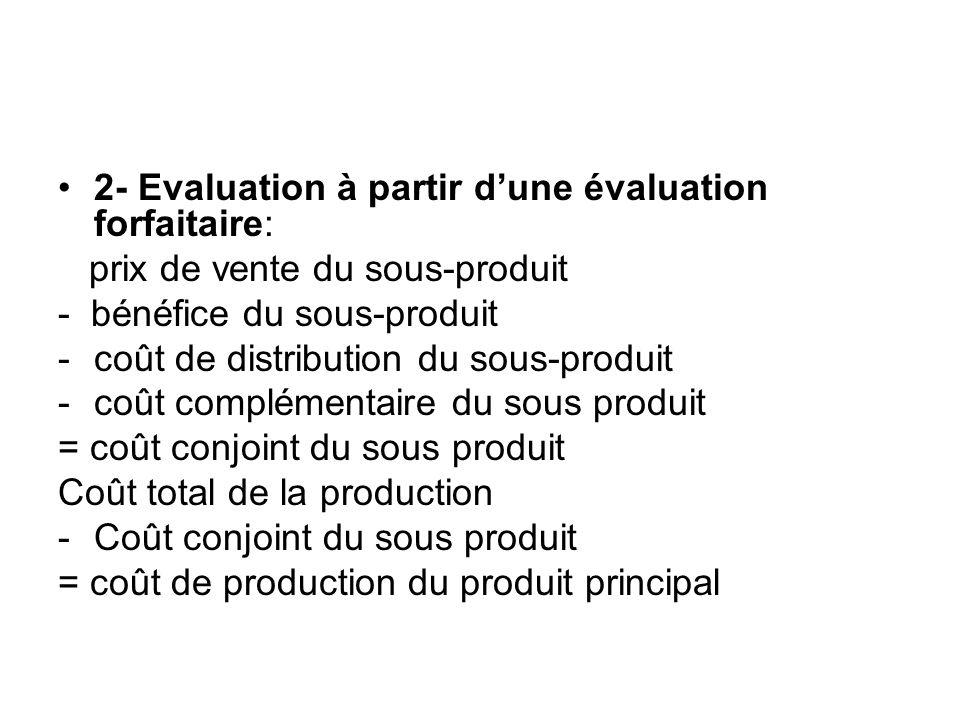 2- Evaluation à partir d'une évaluation forfaitaire: