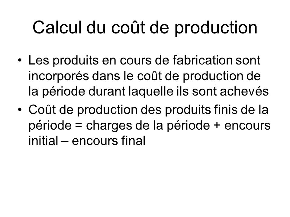 Calcul du coût de production