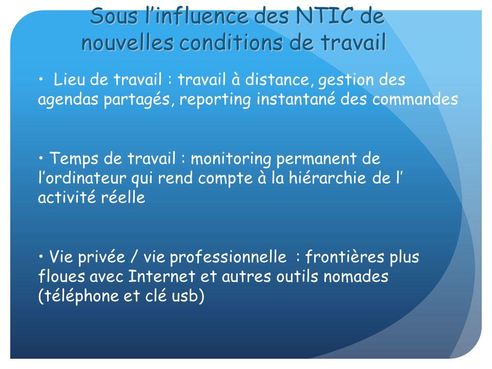 Sous l'influence des NTIC de nouvelles conditions de travail