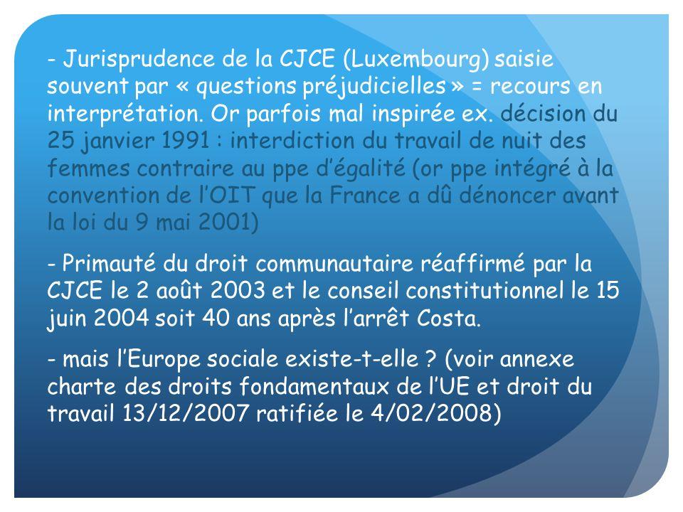 Jurisprudence de la CJCE (Luxembourg) saisie souvent par « questions préjudicielles » = recours en interprétation. Or parfois mal inspirée ex. décision du 25 janvier 1991 : interdiction du travail de nuit des femmes contraire au ppe d'égalité (or ppe intégré à la convention de l'OIT que la France a dû dénoncer avant la loi du 9 mai 2001)