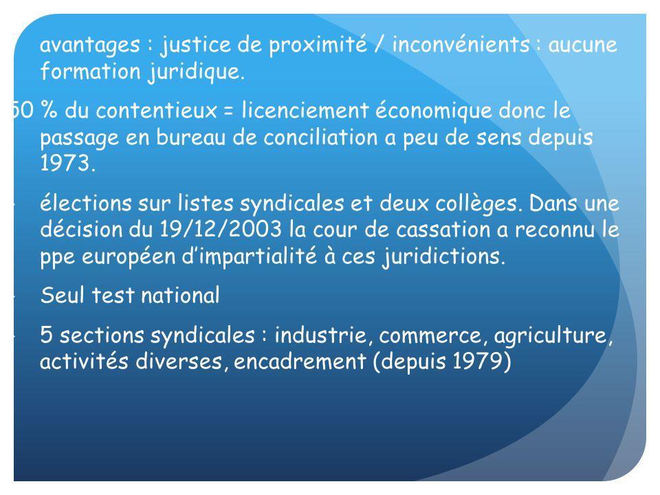 avantages : justice de proximité / inconvénients : aucune formation juridique.