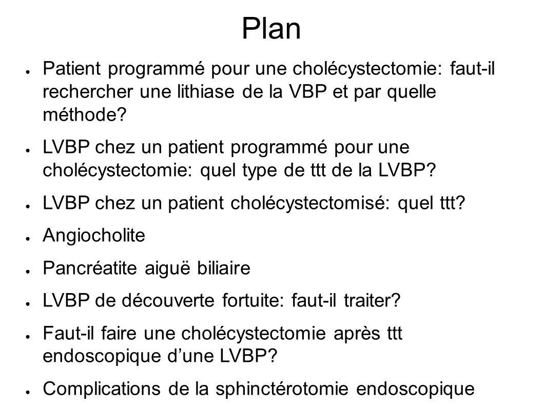 Plan Patient programmé pour une cholécystectomie: faut-il rechercher une lithiase de la VBP et par quelle méthode