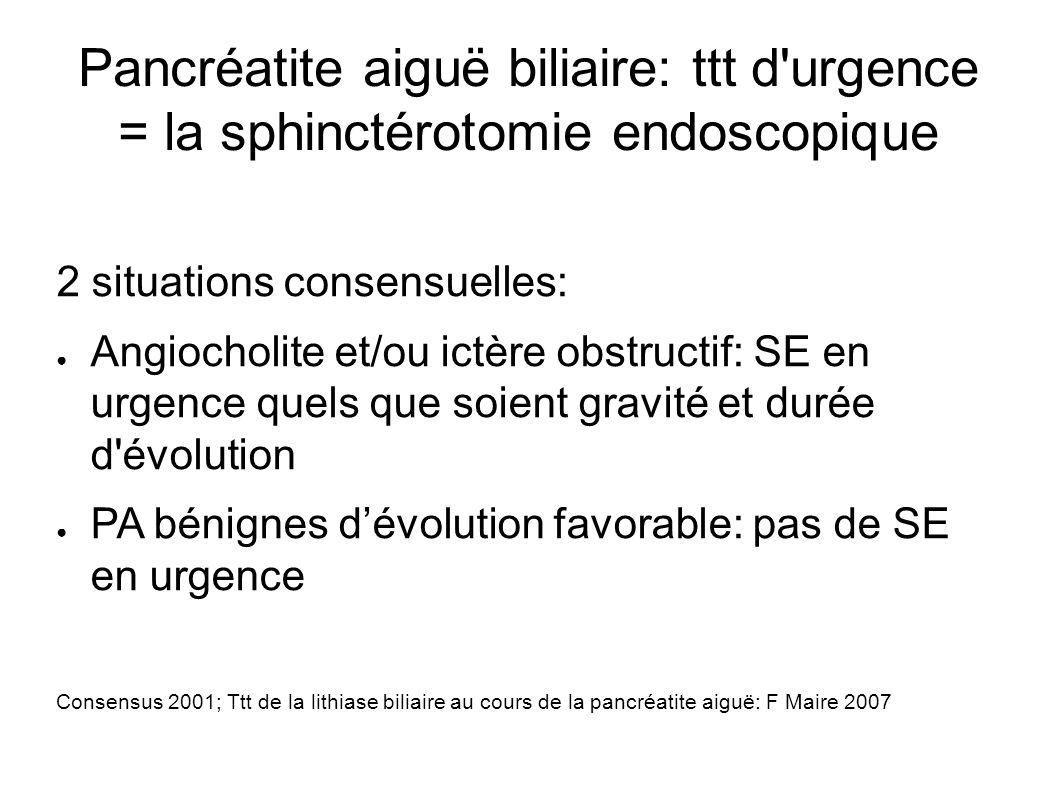 Pancréatite aiguë biliaire: ttt d urgence = la sphinctérotomie endoscopique