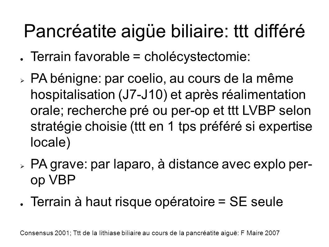 Pancréatite aigüe biliaire: ttt différé