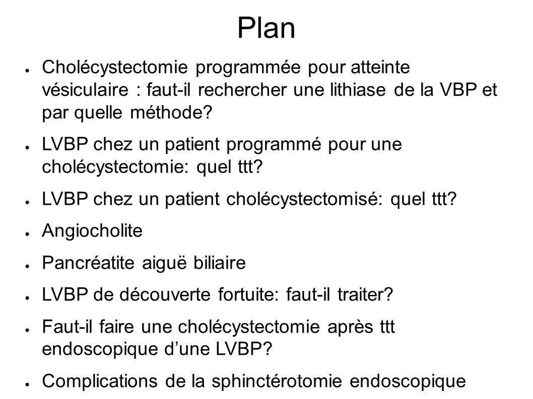 Plan Cholécystectomie programmée pour atteinte vésiculaire : faut-il rechercher une lithiase de la VBP et par quelle méthode