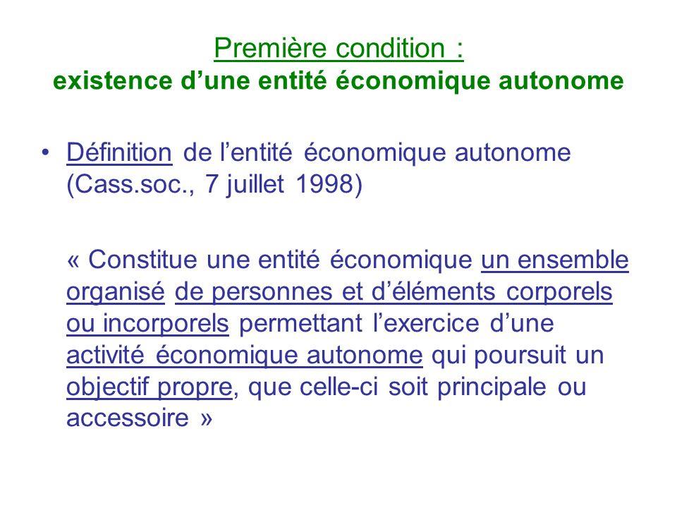 Première condition : existence d'une entité économique autonome