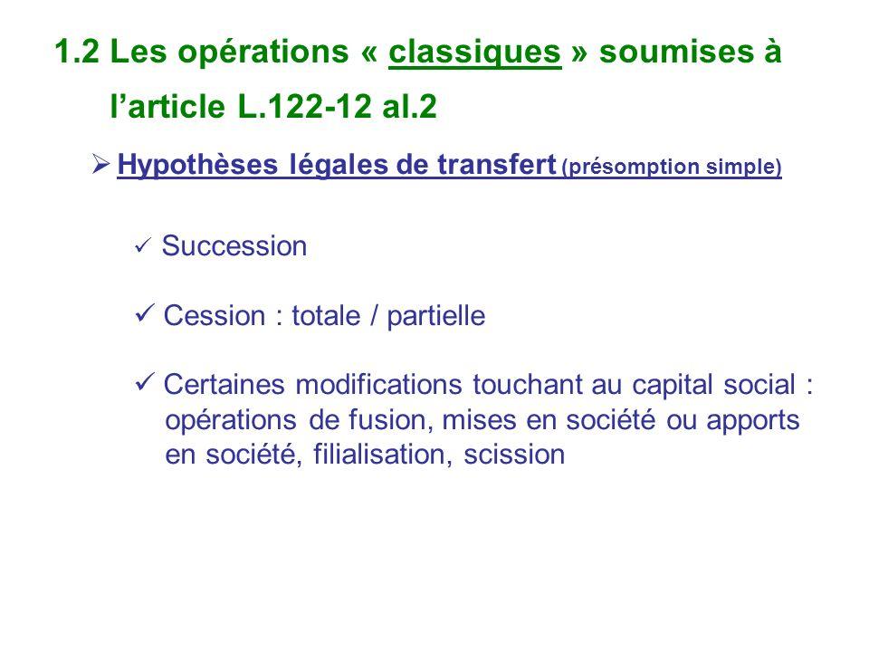 1.2 Les opérations « classiques » soumises à l'article L.122-12 al.2