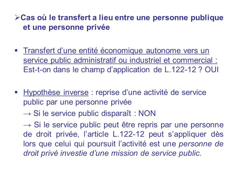 Cas où le transfert a lieu entre une personne publique et une personne privée