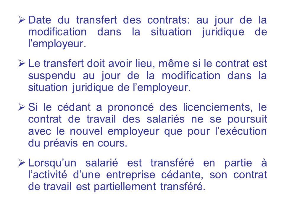 Date du transfert des contrats: au jour de la modification dans la situation juridique de l'employeur.