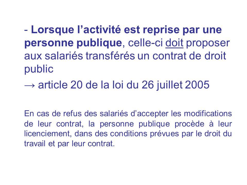 → article 20 de la loi du 26 juillet 2005