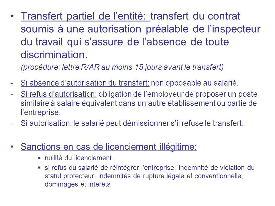 Transfert partiel de l'entité: transfert du contrat soumis à une autorisation préalable de l'inspecteur du travail qui s'assure de l'absence de toute discrimination.