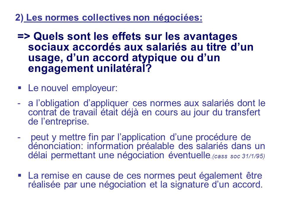 2) Les normes collectives non négociées: