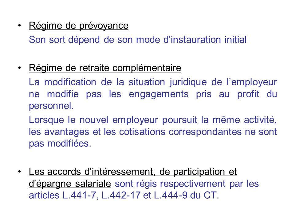 Régime de prévoyance Son sort dépend de son mode d'instauration initial. Régime de retraite complémentaire.