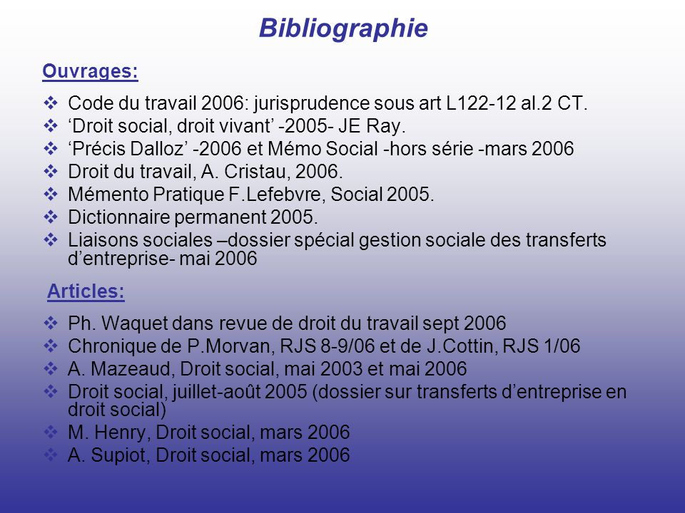 Bibliographie Ouvrages: