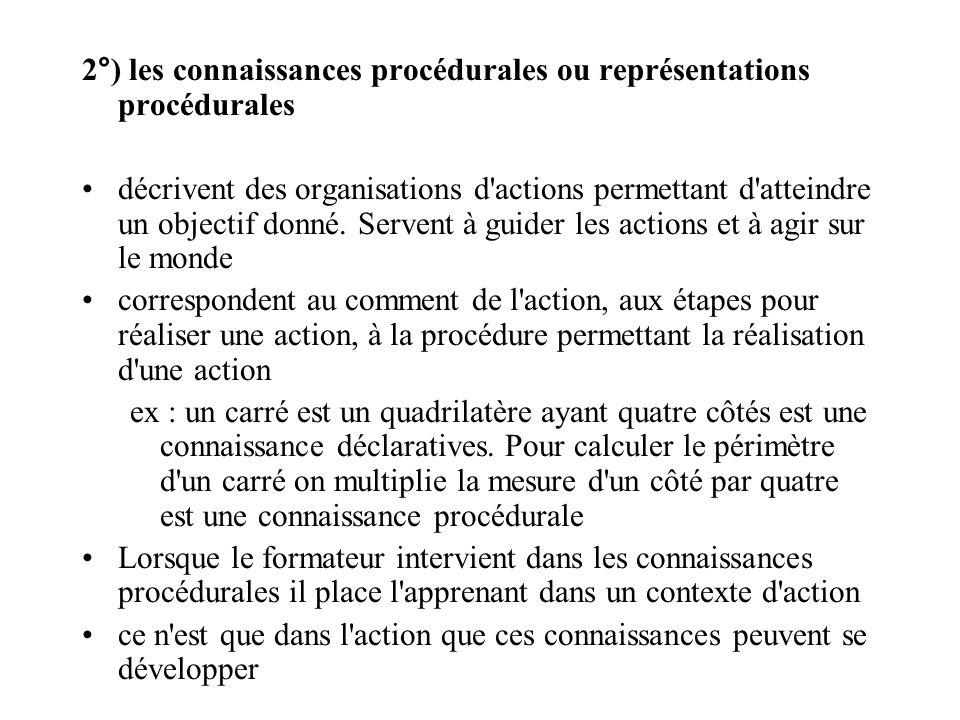 2°) les connaissances procédurales ou représentations procédurales