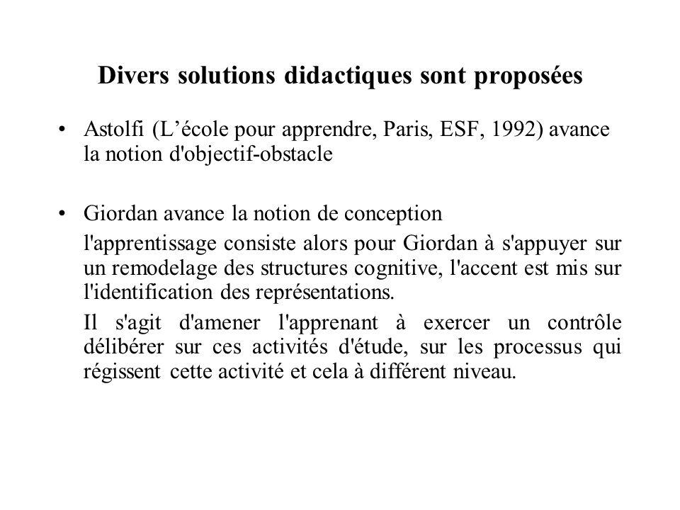 Divers solutions didactiques sont proposées